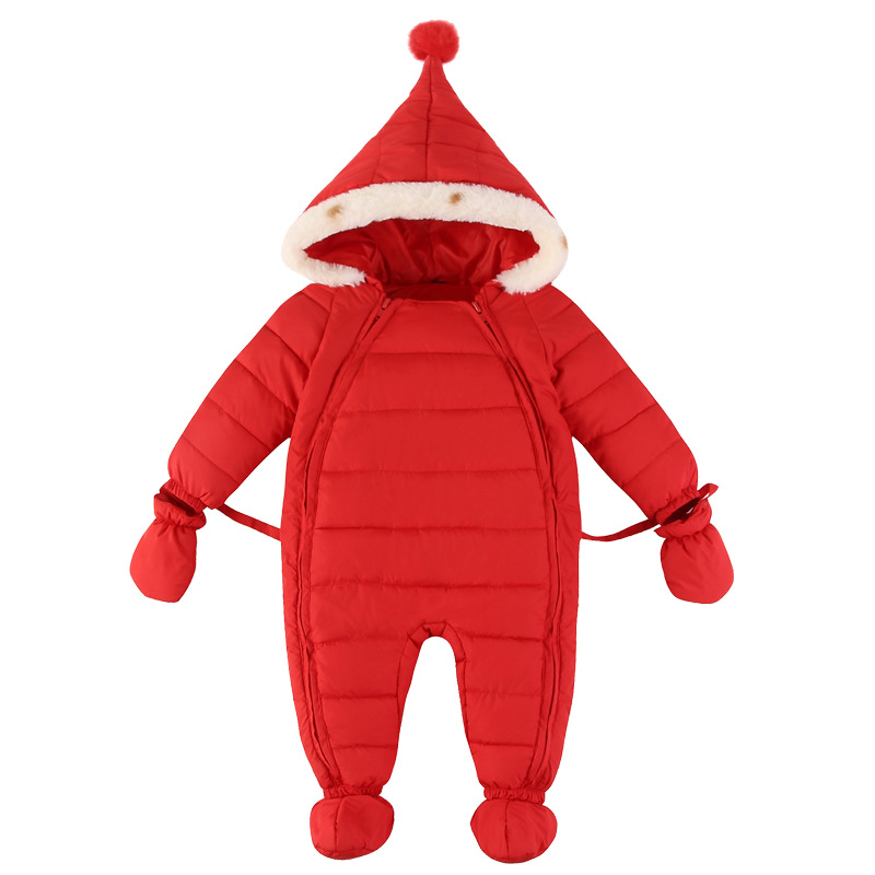 Winter Baby Rompers jumpsuit Solid Color Hooded Keep Warm duck down BRAND Boys Girls Jumpsuit High Quality Baby Clothes 3-12M winter down jacket boys coat for baby girls clothes children warm outwear cute solid color high quality clothing hooded snowwear