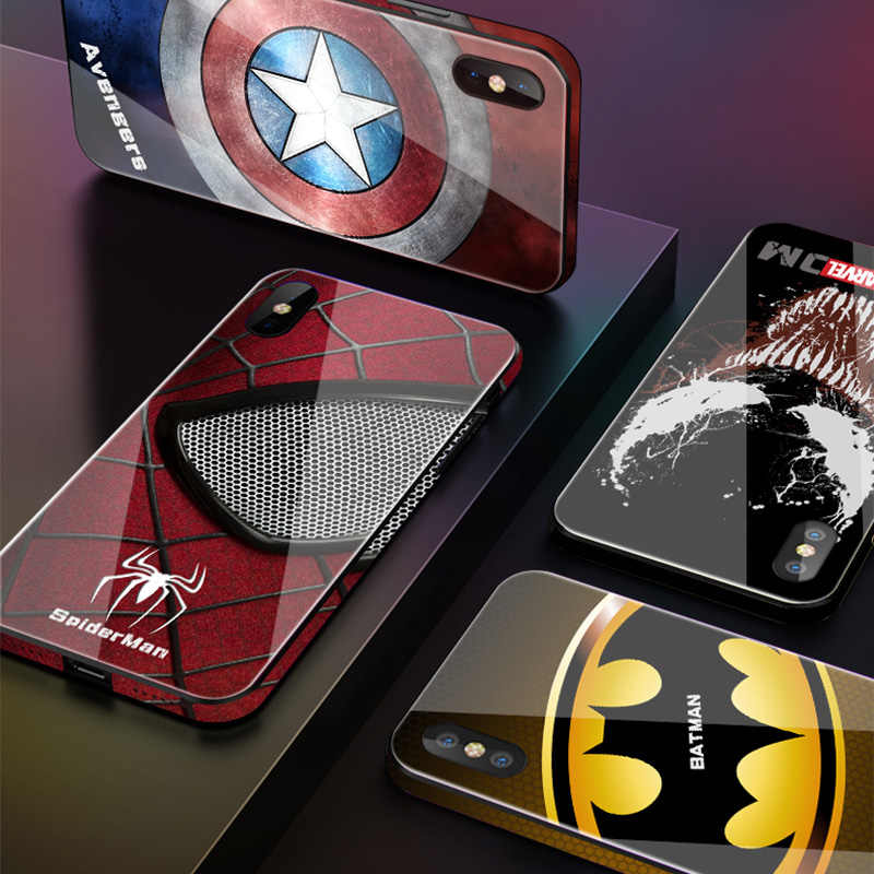 Luxury Marvel Avengers Tempered Glass Phone Cases for iPhone 8 7 6 6s Plus XS MAX XR 10 XMAX Spiderman Batman Venom Cover funda