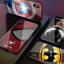 De Lujo vengadores de Marvel funda de vidrio templado para teléfono para iPhone 8 7 6 6s Plus 11 Pro XS MAX XR 10 8Plus Spiderman Batman veneno cubierta(China)