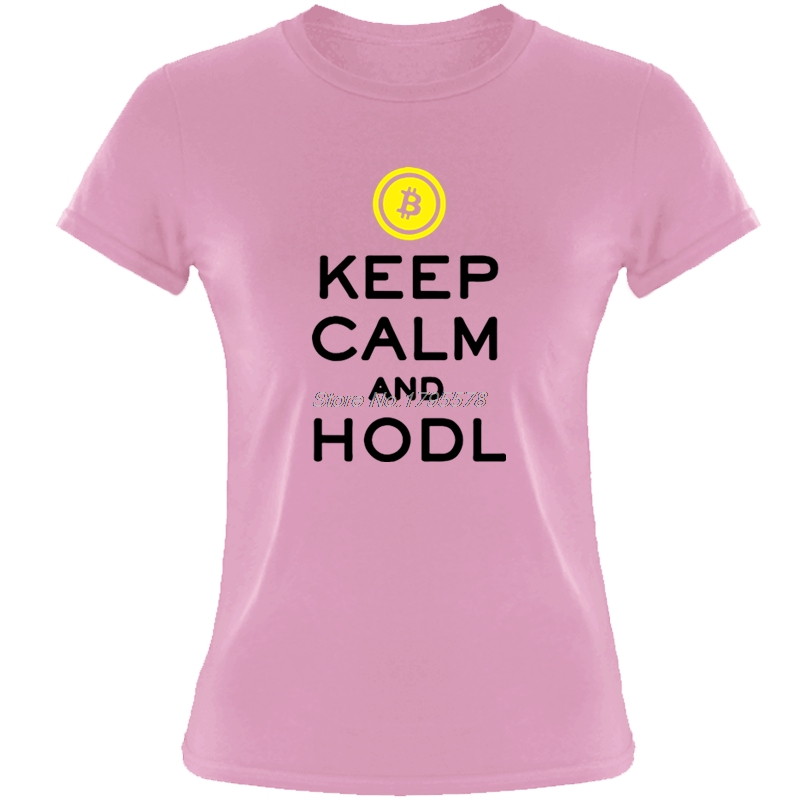 Bitcoin Keep Calm And Hodl Crypto Currency Cool T Shirts For Women Teenage O-Neck Short Sleeve Cotton T-shirt Tees Tops 1