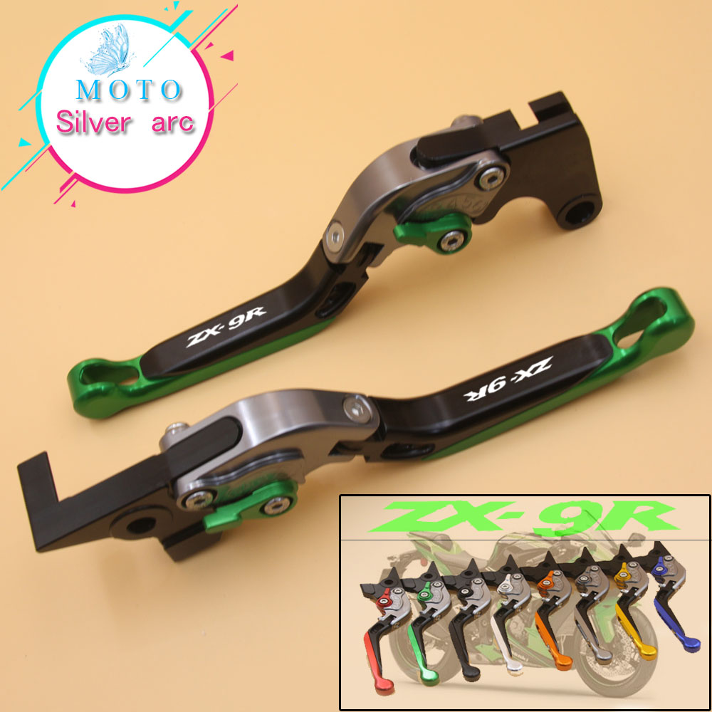 With Logo(ZX9R) Green+Titanium CNC New Adjustable Motorcycle Brake Clutch Levers For Kawasaki ZX9R ZX-9R 2000-2003 2001 2002 1 pair chrome flame shape motorcycle clutch brake hand levers for kawasaki zx 6r 2000 2004 billet aluminum motorbike brake parts
