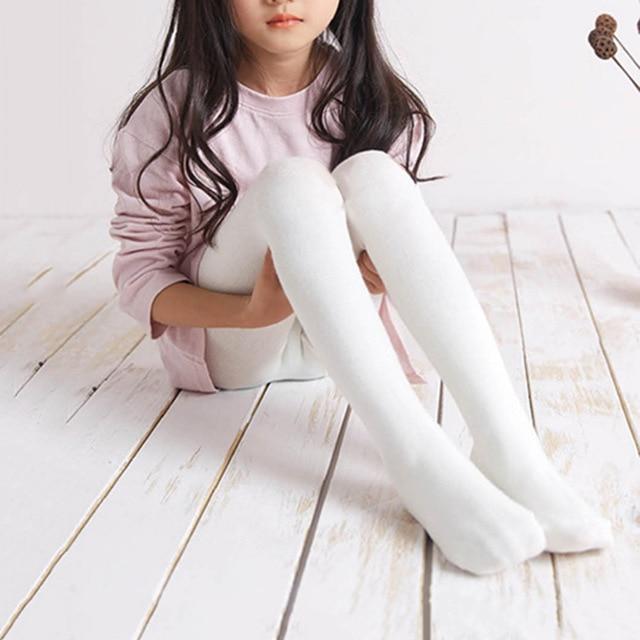 ee53391156248 Baby Girls Pure Cotton Bow Tie Stocking Children Warm Pantyhose White Pink  Leggings Wear in Autumn