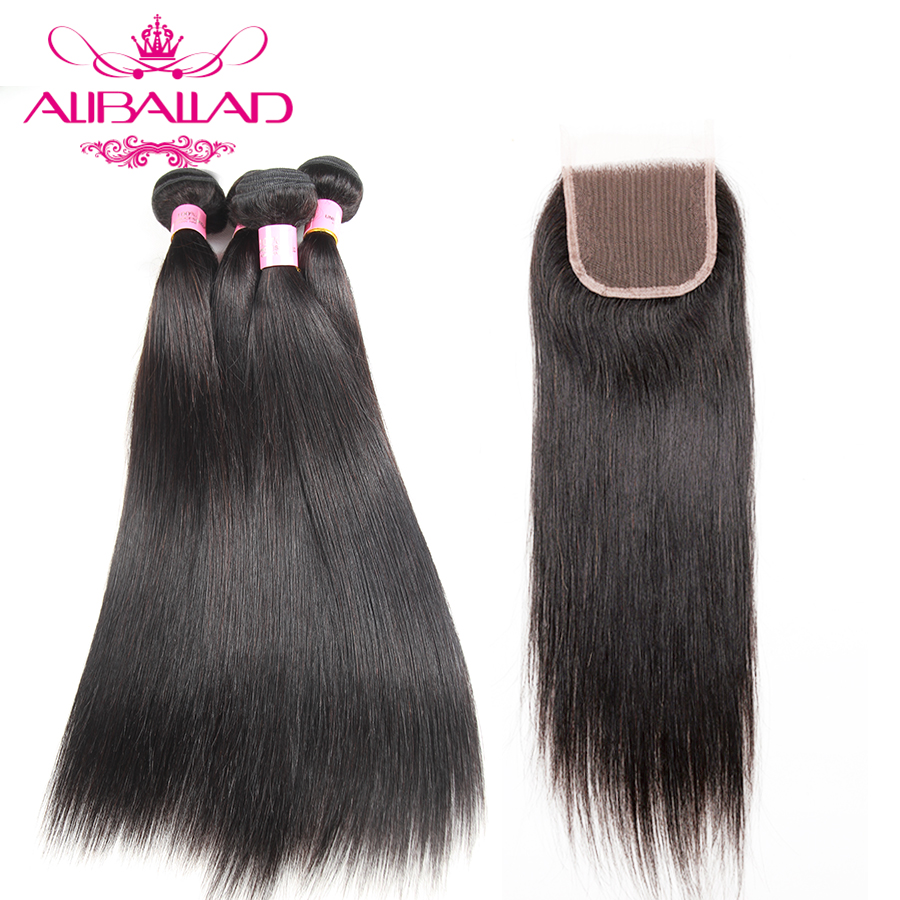 Aliballad Brazilian Straight Hair 4 Bundles With Closure Non Remy Hair Weave 4x4 Swiss Lace 100% Human Hair Bundles With Closure