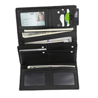 Из натуральной нешлифованной кожи Secure RFID Бумажник Дамы anti theft trifold бумажник 2 цвета красные, черные