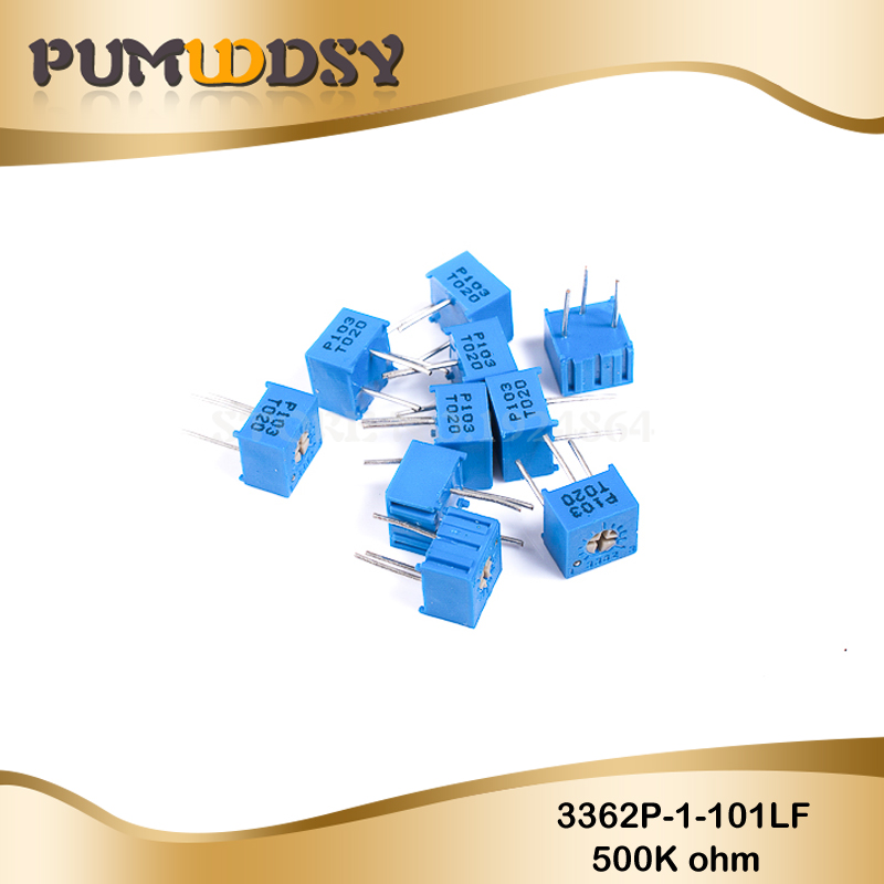 10PCS 3362P-1-504LF 3362P 500K Ohm 3362P-1-504 3362P-504 3362 P504 504 Trimpot Trimmer Potentiometer Variable Resistor