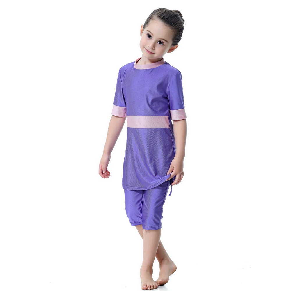 2020 Half sleeve swimsuit for kids girls two pieces with shorts swimwear modest beach bathing suit dropshipping,FREE CAP Baby Kids cb5feb1b7314637725a2e7: 1|2|3