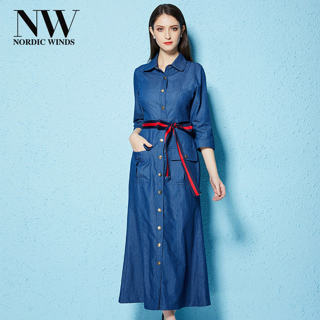 Ladies Jeans Dress Shirts For Autumn Winter Elegant Ankle Length A