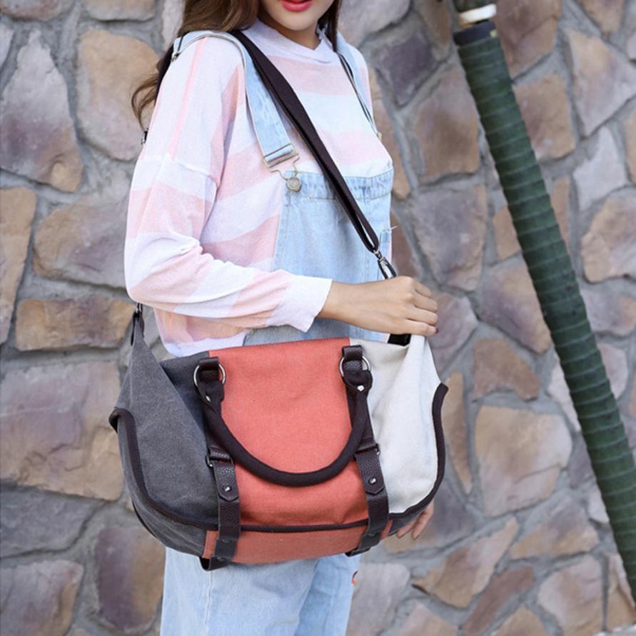 Canvas Handbags  Female Hobos Single Shoulder Bags Boho Vintage Solid Multi-Pocket Ladies Totes Bolsas