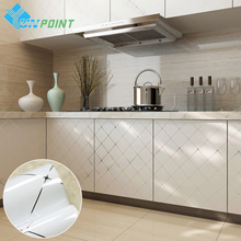 White Furniture DIY Self Adhesive Wall Stickers Kitchen Cabinet Waterproof Decorative Film PVC Silver Line Creative Wallpapers