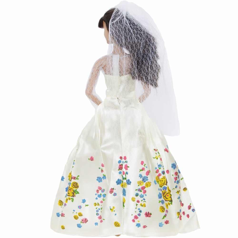 """Сказочное платье принцессы, копия белого свадебного платья Золушки, вуаль для куклы Барби 11,5 """"12"""", марионетка, игра, дом, игрушки для детей, любовь"""