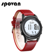 Spovan Mannen Vrouwen Sport Horloge Mode Ultra Dunne Carbon Fiber Dial Rode Lederen Hoogtemeter Barometer Multifunctionele Horloges