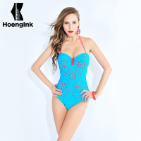 BRANDMAN Blue Pink Tattoo Sexy Swimsuit Noble And Conservative Pink Printing Large No Back Beach Swimwear