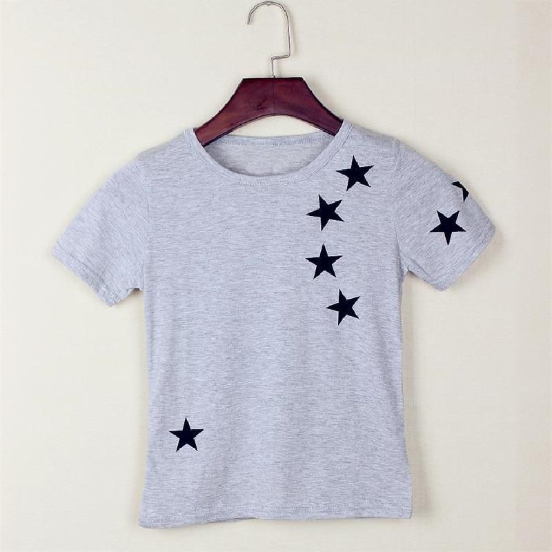 Camisetas con estampado de estrellas en gris sólido para niños Ropa de verano de manga corta para niños 100% algodón Suave y cómodo Camisetas para bebés Camisetas