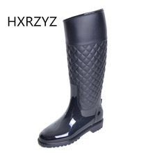 Spring/Summer new Fashion design women Rain Boots female Knee-High Waterproof RainBoots ladies Slip-Resistant Rubber soles shoes