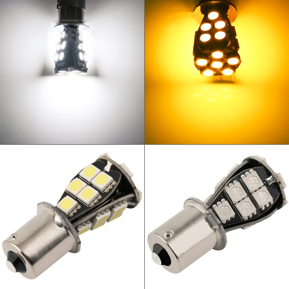 2pcs 1156 BA15S 21 SMD 5050 Amber White CANBUS OBC No Error LED Bulb p21w R5W led car bulbs Car Light Source parking 12V 100pcs lot t10 5 smd 5050 led canbus error free car clearance lights w5w 194 5smd light bulbs no obc error white
