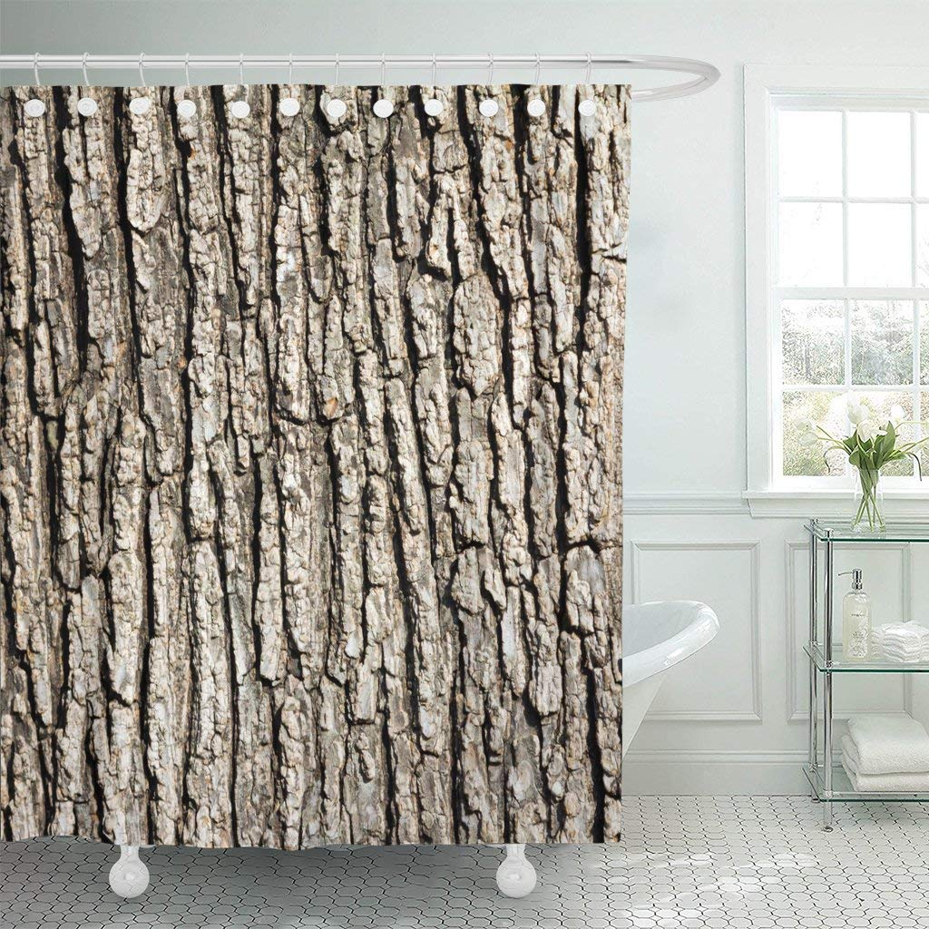 Waterproof Shower Curtain Curtains Brown Bark Old Wood Tree Pattern Tan Nature Rough Outdoor Organic Hard Wooden Dirt Extra Long