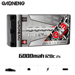 Gaoneng GNB 6000mAh 2S LiPo Battery 7.6V HV 120C/240C Hardcase SHORTY Pack for 1/10 RC Car B5M 22 RB6 22T SCT Race Car parts
