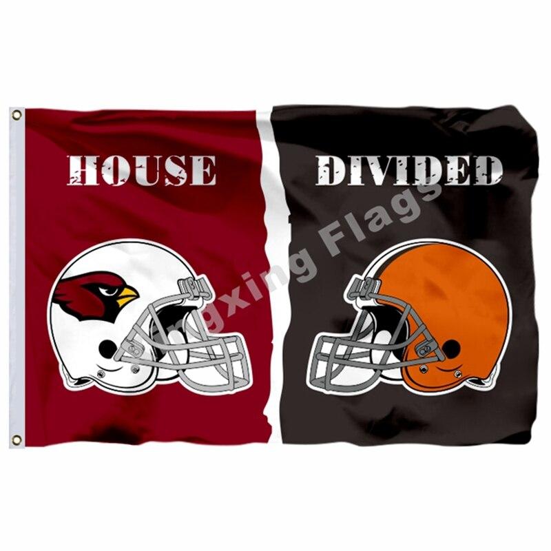Arizona Cardinals Cleveland Browns Helmets House Divided Flag 3ft X 5ft Polyester NFL1 Banner Size No.4 144*96cm Custom Flag