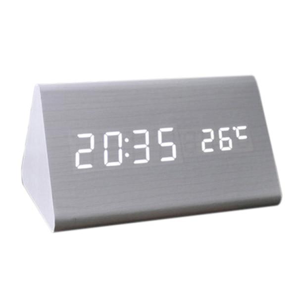 Voice Control Calendar Thermometer e Wood Wooden LED Digital Alarm Clock USB/AAA White Wood White LED