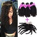 Перуанский Девственные Волосы С Закрытием Афро Странный Человеческий Волос, Плетение Pervian Странный Вьющиеся Волосы Девственницы С Закрытием Tissage Перуанский Волнистые