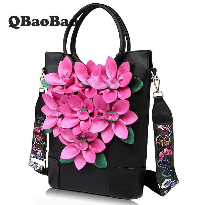 Woman Vintage Bag Wide Straps Solid Bag Satchel Shoulder Folk Style Flowers Bucket Bag ...