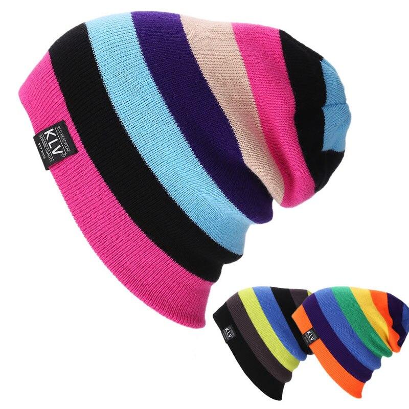 Unisex Mens Ladies Knitted stripe Autumn Winter Oversized Slouch Beanie Hat Cap 2017 summer fashion hot winter beanie knit crochet ski hat plicate baggy oversized slouch unisex cap