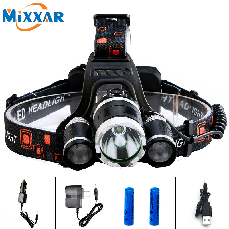 ECree 1 XML T6 2 R5 Led Headlight Head Torch Headlamp 13000LM 4 Mode Head Flashlight for Hunting Fishing LED 18650 Head lamp