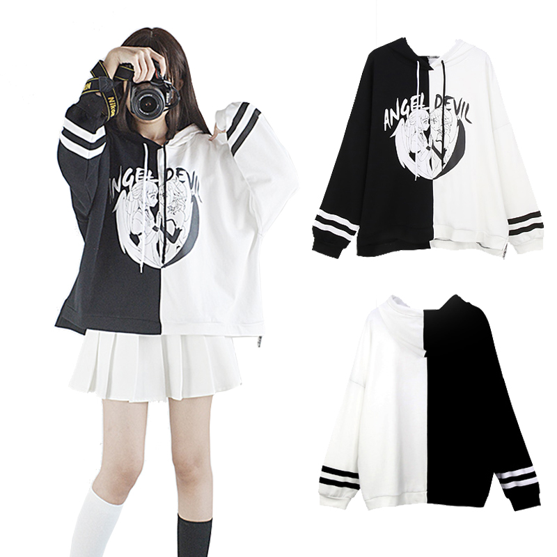Punk Style Women's Hooded Angel And Devil Theme Long Sleeve Coat Black White Spliced Pullover Top Autumn Outwear One Size