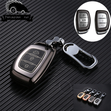 Zinc alloy leather key case car key cover for Hyundai i10 i20 i30 HB20 IX25 IX35 IX45 high quality smart key Car styling car aluminium alloy key case cover