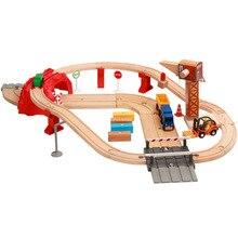 Маленький поезд магнитное соединение совместимое кольцо трек деревянный поезд трек набор детей раннего образования головоломки игрушки