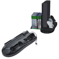 Vertical Stand Cooling Fan w/ Game Discs Storage & Dualshock Charger, Controller Charging Station for Xbox One X With Indicator
