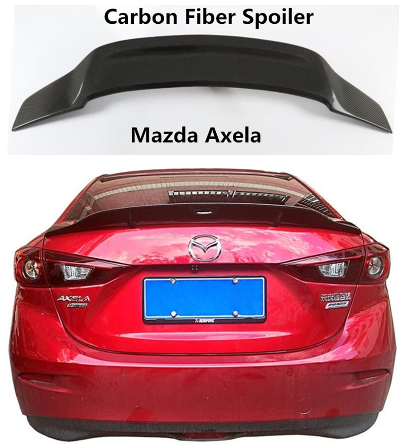 Carbon Fiber <font><b>Spoiler</b></font> For <font><b>Mazda</b></font> Axela 2014 2015 2016 2017 <font><b>2018</b></font> 2019 High Quality <font><b>Spoilers</b></font> Auto Accessories By EMS image