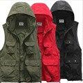 2016 Mannen fotografie капюшоном жилет jas afneembare кап жилет werkkleding руд/zwarte, зеленый aziatische/tag размер M-2XL