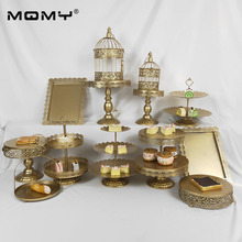 13 PCS Wedding Cupcake Crystal 3 Tier Metal Gold Set Birthday Iron Cake Stand