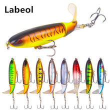 10pcs Whopper Popper 10cm 3D Eyes Synthetic Topwater Lure Synthetic Bait Laborious Plopper Comfortable Rotating Tail Fishing Sort out Geer