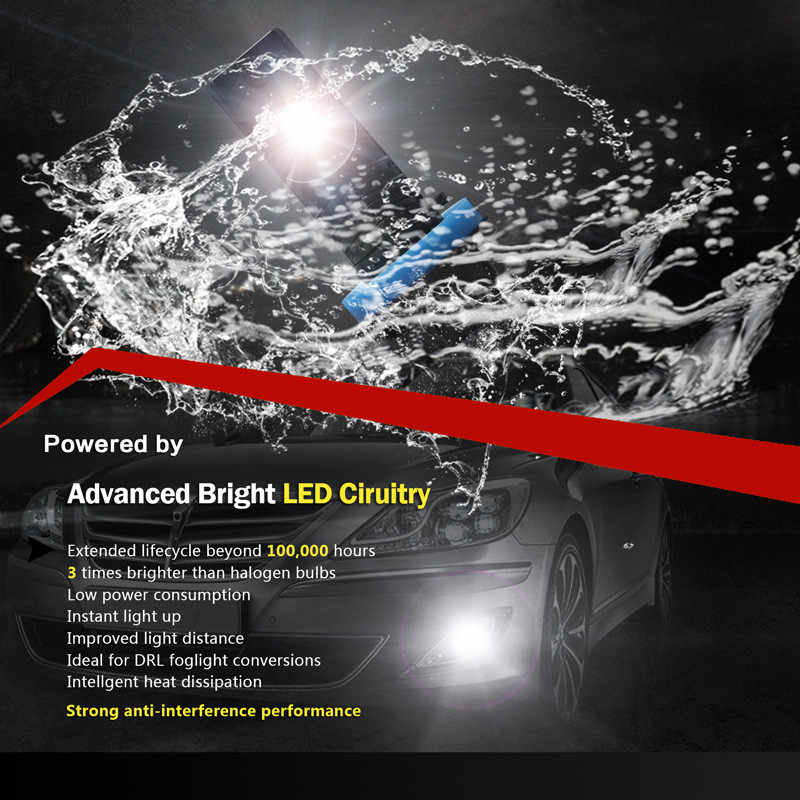 NIGHTEYE Car Fog Lights led Daytime Running Light H7 LED Bulbs H11 H8 High 9005 HB3 9006 HB4 Power COB 1600LM White H7 Lamp 2Pcs