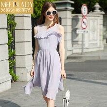2017 summer dress women's clothing medium-long ruffle a-line o-neck slim sleeveless chiffon one-piece dress female