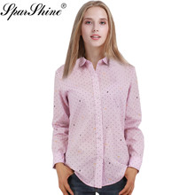 2017 Women Blouse Female Long Sleeve Office Shirts Polka Dot Dragonfly Printed Floral Striped Blusas Tops Lady Plus Size(China)