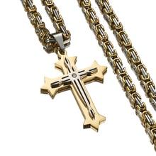 Fashion 316L Stainless Steel Jesus Christ Cross Pendant Necklace 4mm Byzantine Link Chain Silver Gold Men Boys Gift недорого