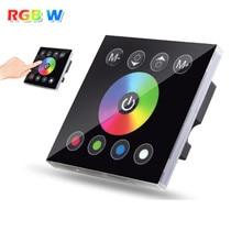 Dc12v 4a * 4ch preto temperado painel de vidro tela toque digital dimmer casa interruptor de luz parede para rgbw led fita tira 4 canal