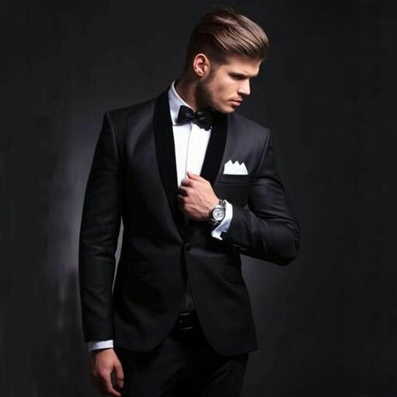 Custom Made Black Groom Tuxedos Slim Fit Men Suits For Wedding Shawl Lapel Groomsmen Wear 2pieces Coat Trousers Terno Masculino
