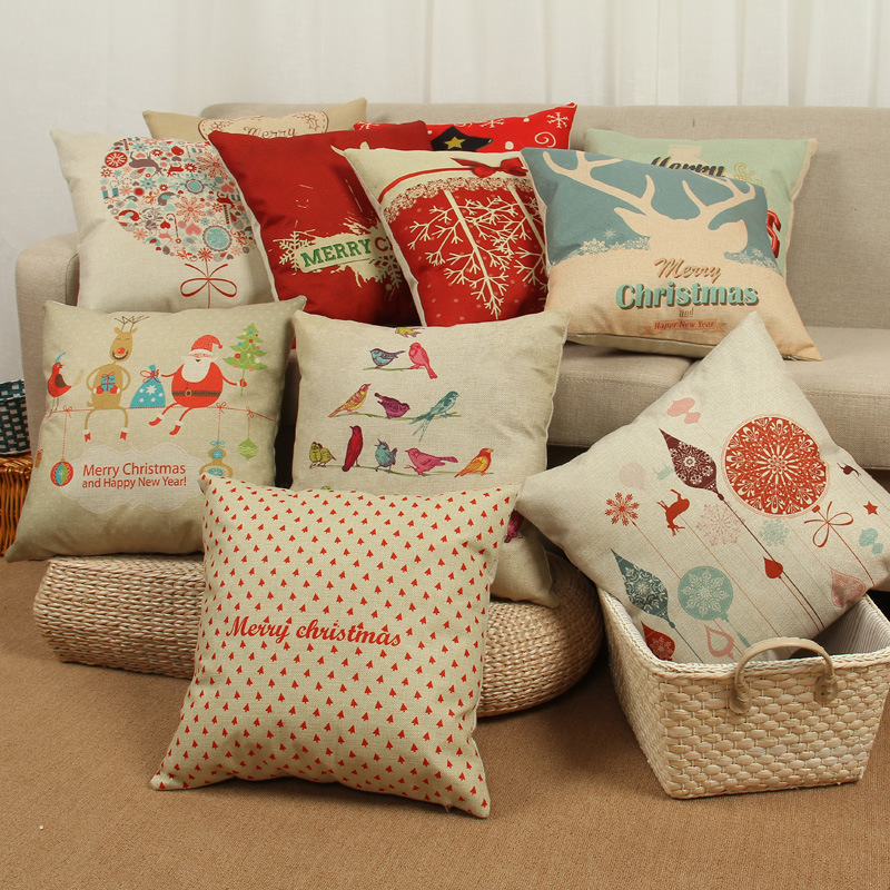 Trend Fashion Red Cushion Case Christmas Series Cotton linen pillow cover Home Decor