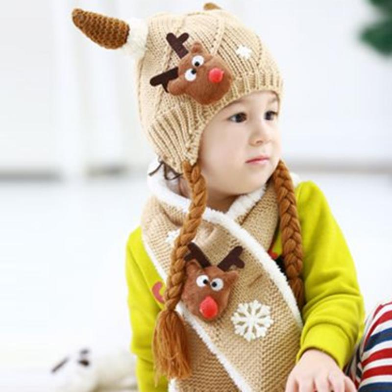 2pcs/Set Baby Ox Horn Hat+Scarf Winter Ears Cap Fleece Warm for Christmas Baby Beanies+Scarf Twinset