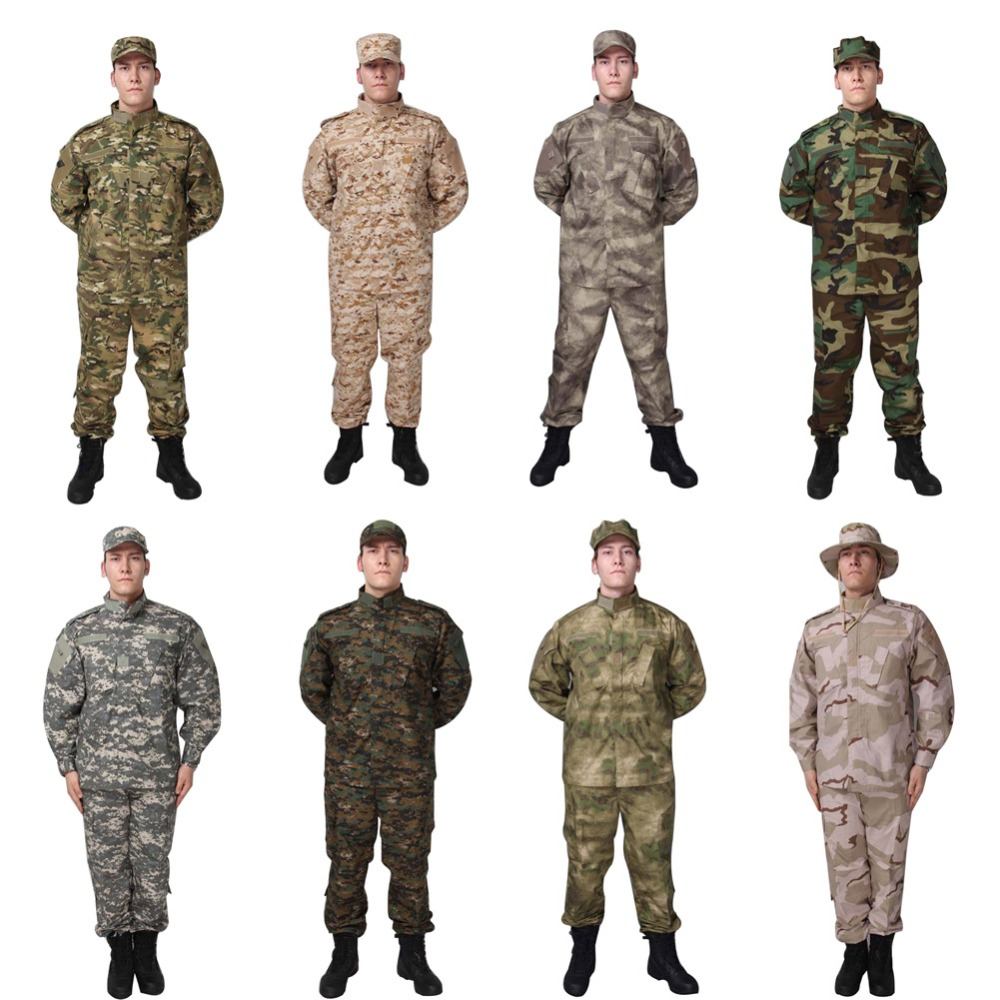 8 Colors Navy Tactical Combat Suit US Camouflage Military Tranning BDU Uniform Set Paintball Hunting Outdoor CS War Game Clothes