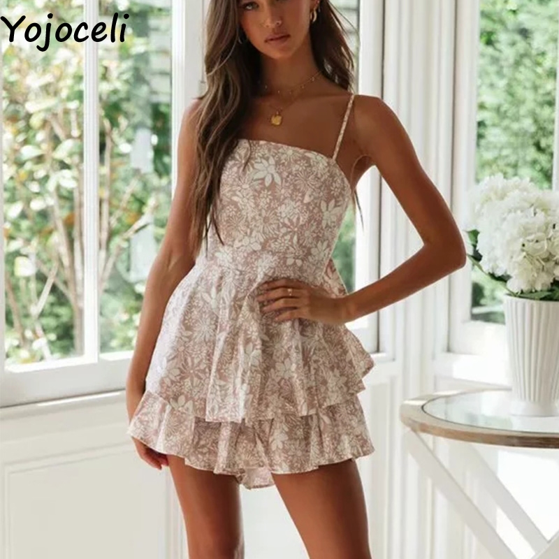 Yojoceli Backless Sexy Bow Ruffle Jumpsuit Romper Elegant Party Strap Short Playsuit Summer Casual Overalls Romper