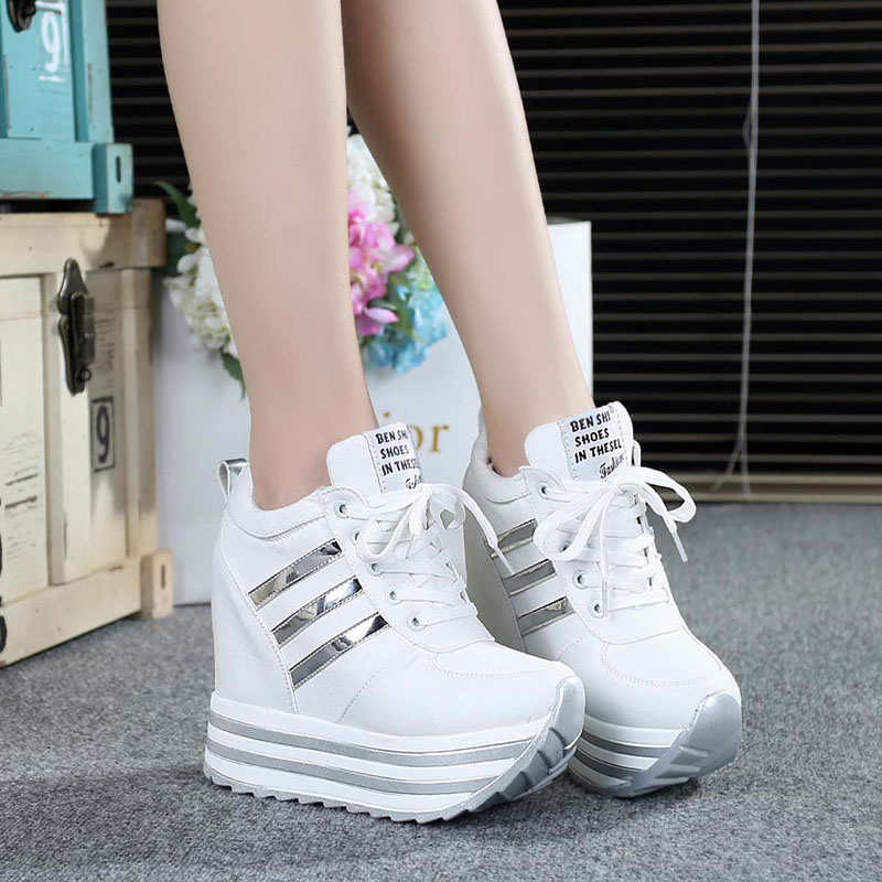 Women Wedged Sneakers Height Increasing Shoes 12CM Women High Platform White Breathable Walking Shoes Loafers Canvas