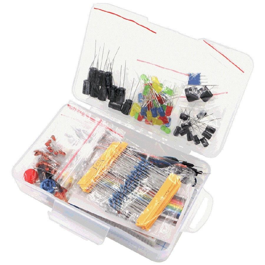 Kit de partida para resistor ar-du-ino/led/capacitor/fios em ponte/kit resistor de tábua de pão com caixa de varejo