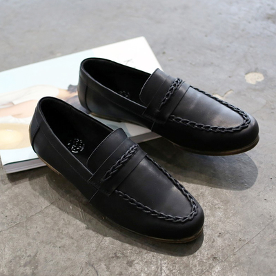 ФОТО Song Zhongji same paragraph leather shoes British men's to help low doug genuine loafers flats