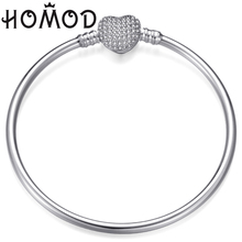 HOMOD Charm Heart Shape Bracelet 65mm Cubic Zirconia Silver Color Smooth Brand Bracelets&Bangles for Women Fashion Jewelry