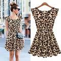 2015 plus size moda verão leopardo plissado senhoras dress mulher sexy vestidos de festa do clube vestidos sem mangas o pescoço bonito casual